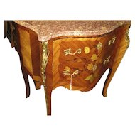 French Marble Top Inlaid Small Commode