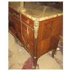 French Marble Top Parquetry Commode