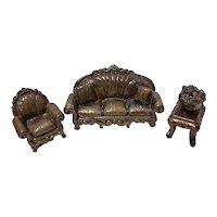 3 Pc Miniature Sterling Sofa Set