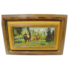 Western Oil Painting by Sheryl Bodily Cowboy, Pack Horses, Mountains Signed