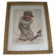 Signed Color Etching byArthur Swartz Sad Clown Kicking Can