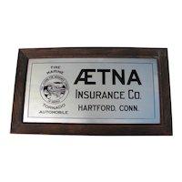 Aetna Advertising Metal Insurance Sign