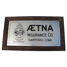 Aetna Advertising Metal Insurance Sign