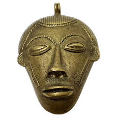 African Bauli Tribe Bronze Ivory Coast Pendant with Hair