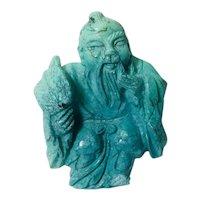 Small Asian Jade Buddha with Fan