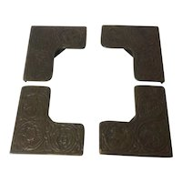 Tiffany Studios Bronze Blotter Corners, Zodiac theme set of four