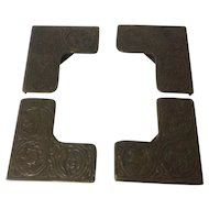 Tiffany Studios Bronze Blotter Corners, Zodiac theme set of four