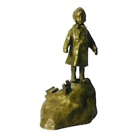 Antique School Girl Bronze by Jan Biernacki, 1910