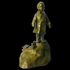 Antique School Girl Bronze by Jan Biernacki, 1910