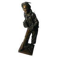 "Victorian French Musician in Bronze,"" Au Clair De La Lune"" by Bouret"