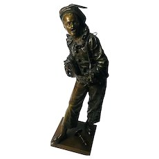 "Victorian French Musician in Bronze,"" Au Clair De La Lune"" by Bouret"