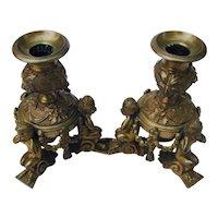 Bronze Figural Candlesticks