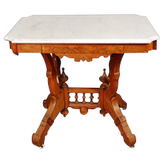 Renaissance style Victorian Walnut Marble Top Parlor Table