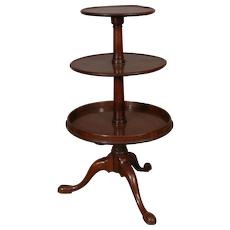 English Queen Ann 3 tier Mahogany Dumb Waiter