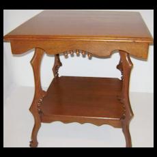 Victorian Square Oak  Lamp Table