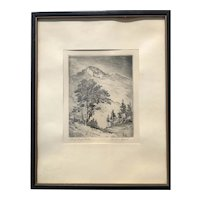 Lyman Byxbe Original Etching  Longs Peak