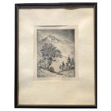 Lyman Byxbe Original Etching  Longs Peak