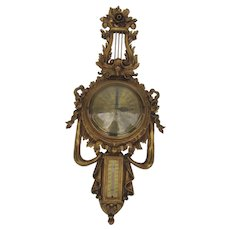 Grow and Cuttle Gold Gild Barometer and Thermometer