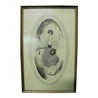 Signed Barrie Art Deco Semi Nude Woman Print