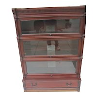 Ideal Mahogany Beveled Glass 3 Stack Book Case