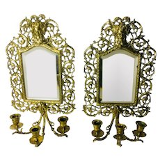 Victorian Style Brass Mirror, Pair with Candlestick Holders