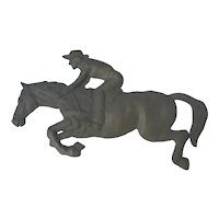 Brass Dimensional Horse and Rider Wall Hanging Decor