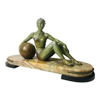 Art Deco style Bronze Girl Reclining with Beach Ball