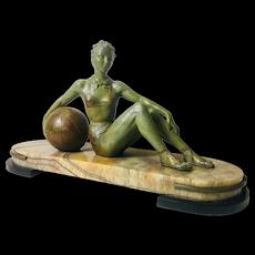 Art Deco style Bronze Girl Reclining with Beach Ball