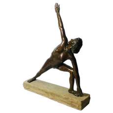 Fine Bronze of Nude Woman Stretching. Signed