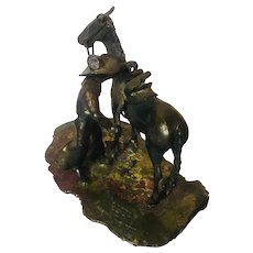 """Floyd Nichols western """"Little old cow pony"""", 1940, mixed metal statue"""