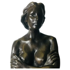 "Beautiful Nude Female Bronze, Crossed Arms, Standing. Signed ""Naeel"""