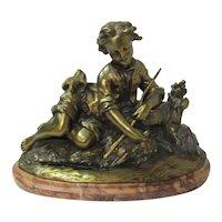 Bronze Boy Fisherman On  Marble Plinth