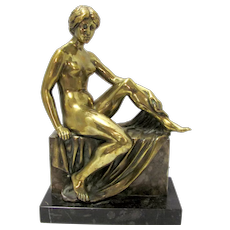 Bronze Woman Statue Signed Soding