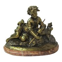 Bronze Boy Fisherman On  Marble Plinth
