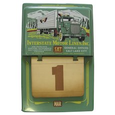 Vintage 1950's Interstate Metal Perpetual Calendar Interstate Motor Lines Inc. Trucking