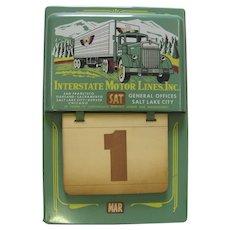Vintage 1950's Interstate Metal Perpetual Calendar Interstate Motor Lines Inc. Trucking