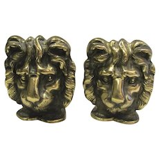 Vintage Solid Brass Lion Head Bookends England