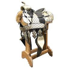 Vintage Leather Western Parade Saddle by L. V. Frazer of Indianapolis Embellished Silver