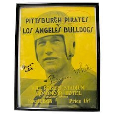 "Byron Raymond ""Whizzer"" White Signed Pittsburgh Pirates Program"