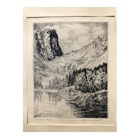 Lyman Byxbe Original Etching, Dream Lake