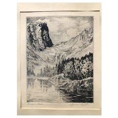 Lyman Byxbe Original Etching, Dream Lake