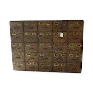 American Oak 25 Drawer File Cabinet