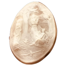 Giant Vintage P. Ascione Cameo of Ladies and Angels.