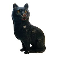 Great Old Black Cat Cast Iron Bank