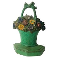Antique Cast Iron Flower Pot Door Stop
