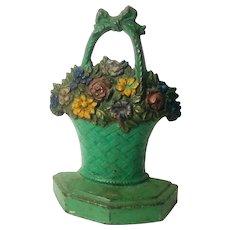 Antique Cast Iron Flower Pot Door Stop