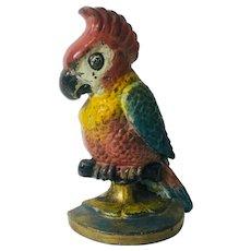 Antique Cast Iron Door Stop Parrot