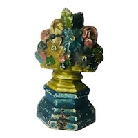 Antique Cast Iron Door Stop Flower Motif