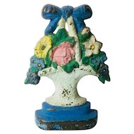 Antique Cast Iron Door Stop Flower Bouquet