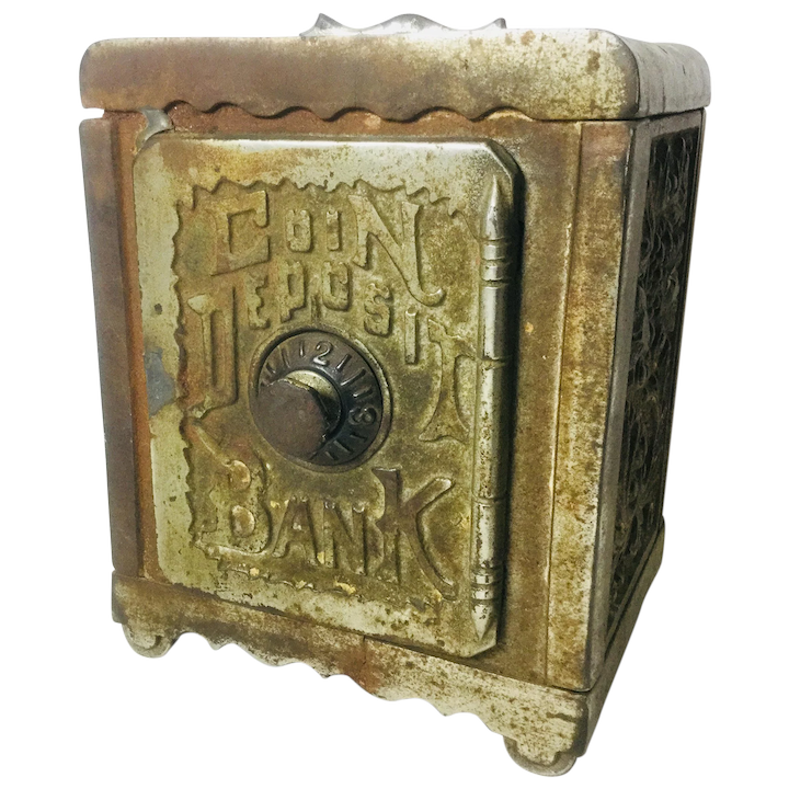 Antique Cast Iron Bank Coin Deposit